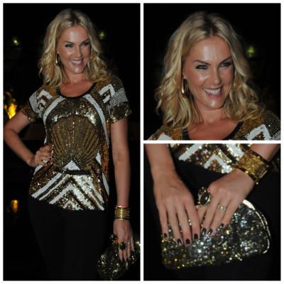 Ana Hickmann de blusa dourada Joulik e bolsa Dolce & Gabbana no show de Claudia Leitte