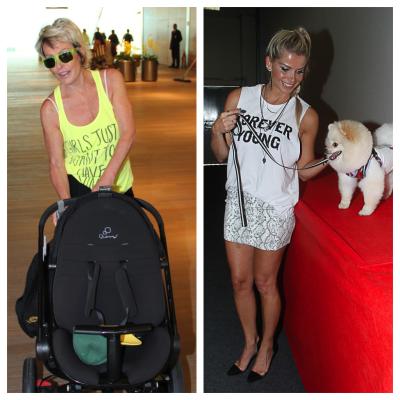 Ana Maria Braga e Karina Bacchi usam camisetas engraçadinhas