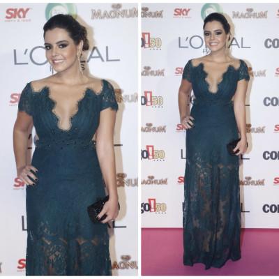Giovanna Lancellotti usa vestido rendado Patricia Bonaldi