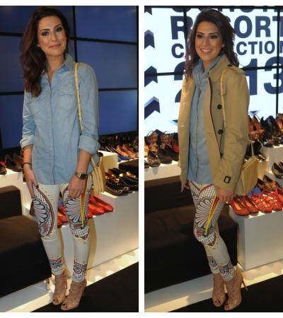 Fernanda Paes Leme de calça Topshop