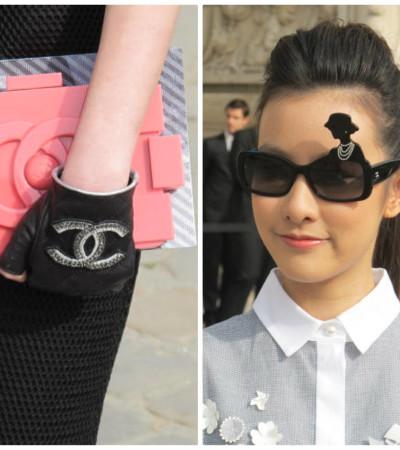 """Convidadas da Chanel usam óculos com silhueta da estilista e bolsa """"Lego"""""""