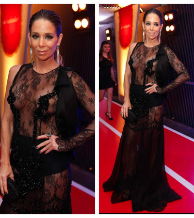 Danielle Winits usa vestido transparente com hot pant