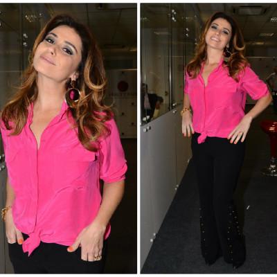 Giovanna Antonelli usa camisa pink Ateen e calça preta Richini