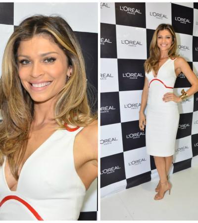 Grazi Massafera usa Versace branco na Beauty Fair
