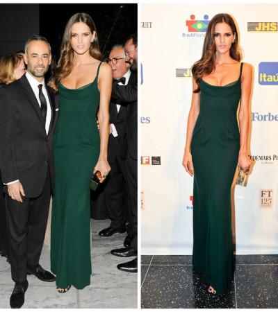 Izabel Goulart magnifica no vestido verde Calvin Klein