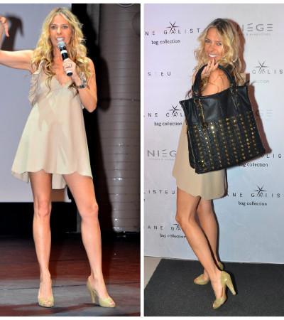 """Adriane Galisteu usa vestido """" vintage"""" para lançar linha de bolsas"""