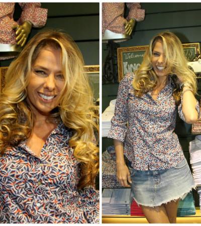 Adriane Galisteu aposta em camisa estampada Kingster