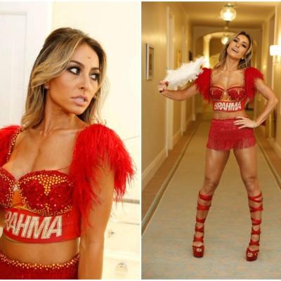 Sabrina Sato veste Carina Duek para o camarote da Brahma