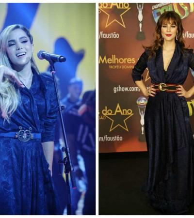 Anitta e Paolla Oliveira usam vestido igual em premiação