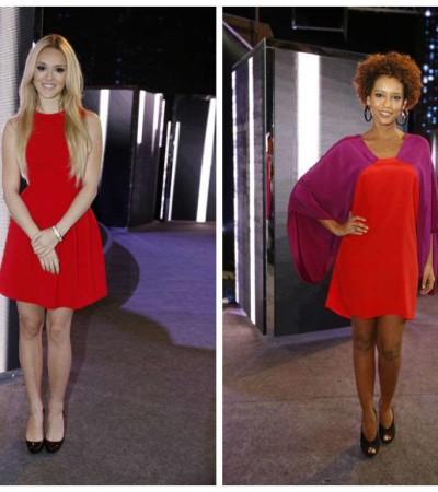 Qual famosa ficou melhor com vestido curto e colorido?