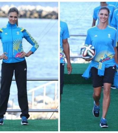 Fernanda Lima desfila com uniformes da Copa no Fashion Rio