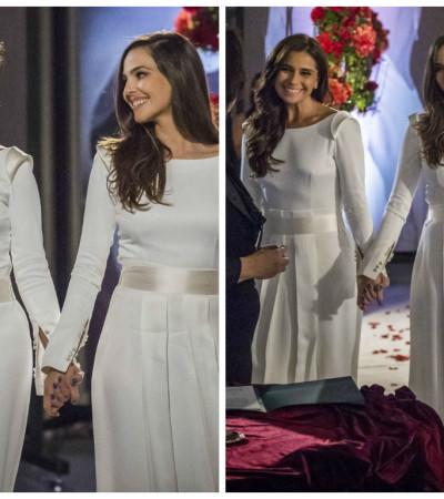 G. Antonelli e Tainá Müller se casam com vestidos iguais na novela 'Em Família'