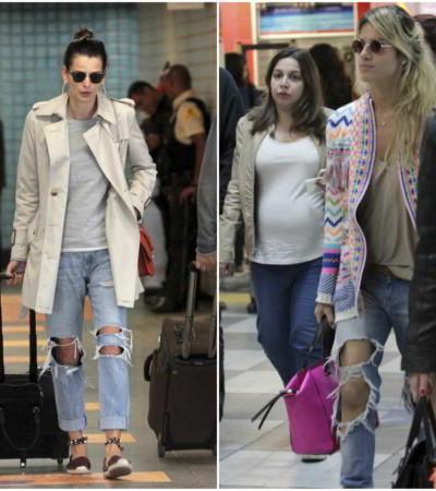 Celebridades apostam em jeans rasgadão