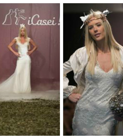 Gianne Albertoni e Caroline Bittencourt desfilam com vestidos de noiva da Trinitá