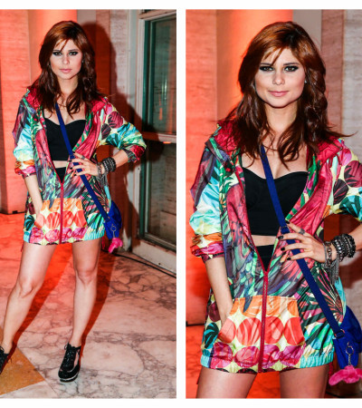 Julianne Trevisol veste Adidas em festa da revista Rolling Stone