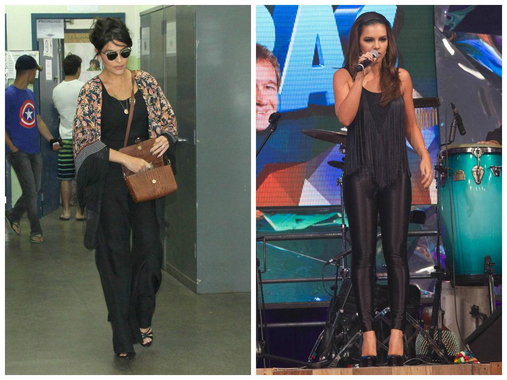 25b6aa59ee Juliana Paes escolheu calça e blusa pretas com quimono estampado de franjas.  Toda de preto