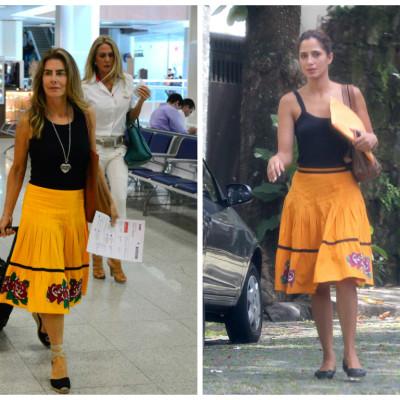 Maitê Proença e Camila Pitanga amam saia amarela