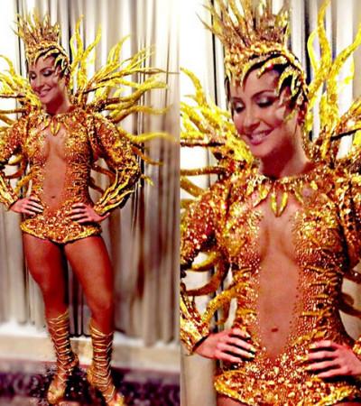 Claudia Leitte se veste de Sol na Sapucaí com 65 mil cristais