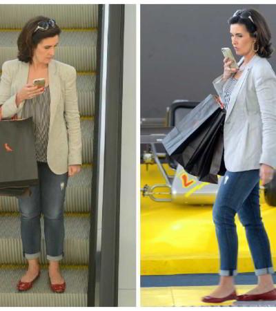 Fátima Bernardes com blazer, jeans e sapatilhas: inspiração