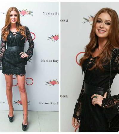 Marina Ruy Barbosa de vestido de renda da Cajo