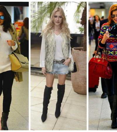 Casaco, colete de pele e suéter: reveja looks de famosas e inspire-se