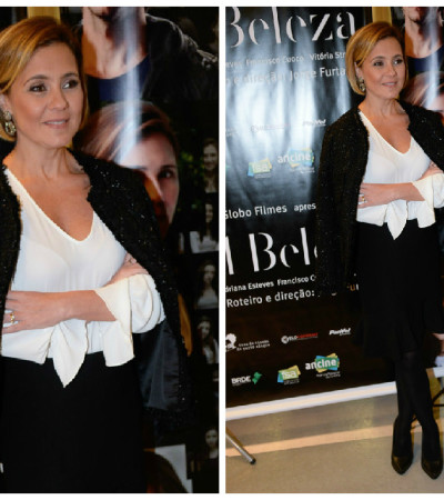 Inspire-se: Adriana Esteves usa look preto e branco
