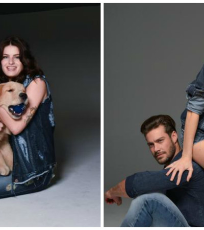 Isabelli Fontana posa com cachorro e modelo português para a Damyller