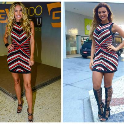 Coincidência fashion: Adriane Galisteu e Vina Calmon de vestido Ammis