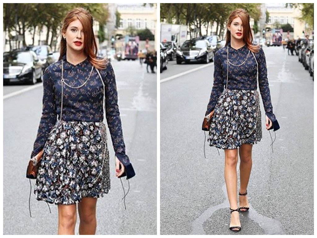 Marina Ruy Barbosa com mix de estampas Dior em Paris