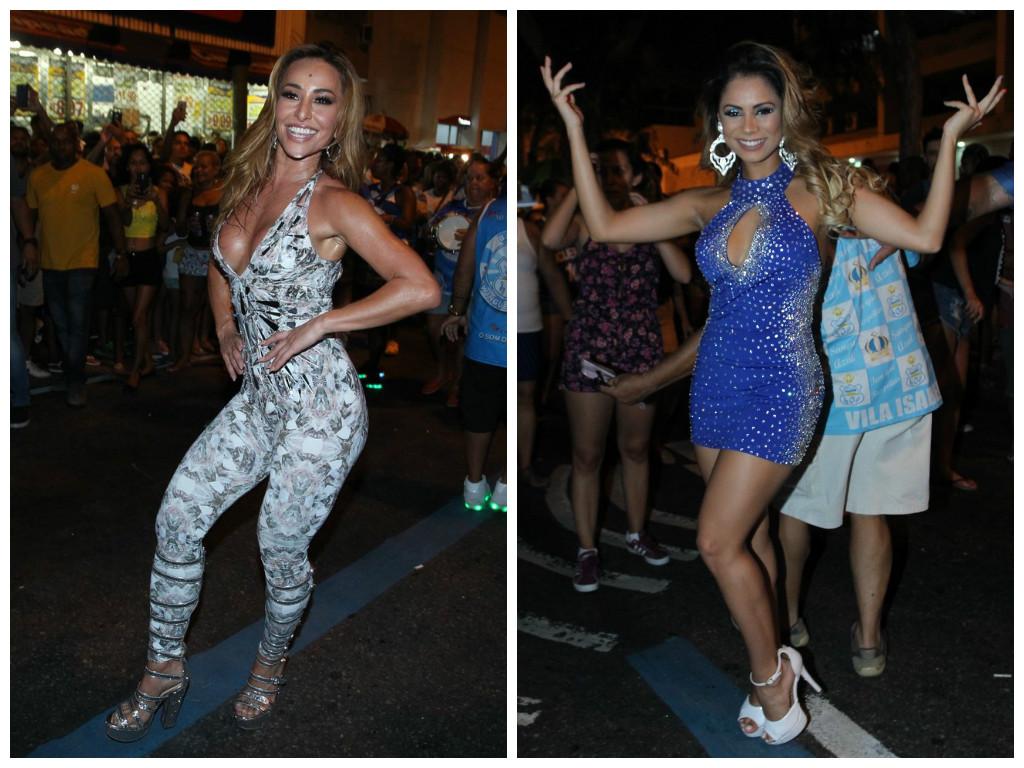 Sabrina Sato e Lexa exibem decotões em ensaio de escola de samba