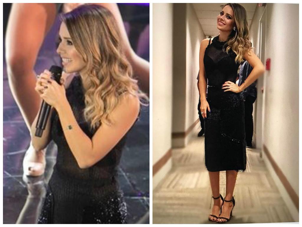 Sandy usa look preto Raquel de Queiroz no 'Domingão do Faustão'