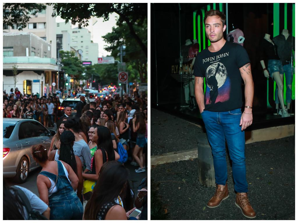 Presença de Ed Westwick na loja da John John atraiu muitos fãs (Fotos: Raphael Castello/AgNews)