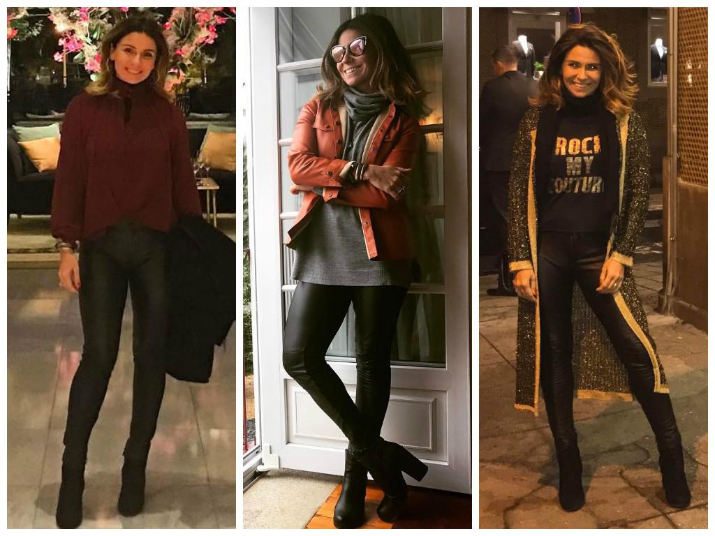 Para copiar: 3 looks com calça skinny de couro da Giovanna Antonelli em Portugal