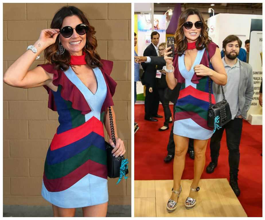9d1338cca562a Flávia Alessandra vai a feira de óculos com bolsa e chaveiro de R  3 ...