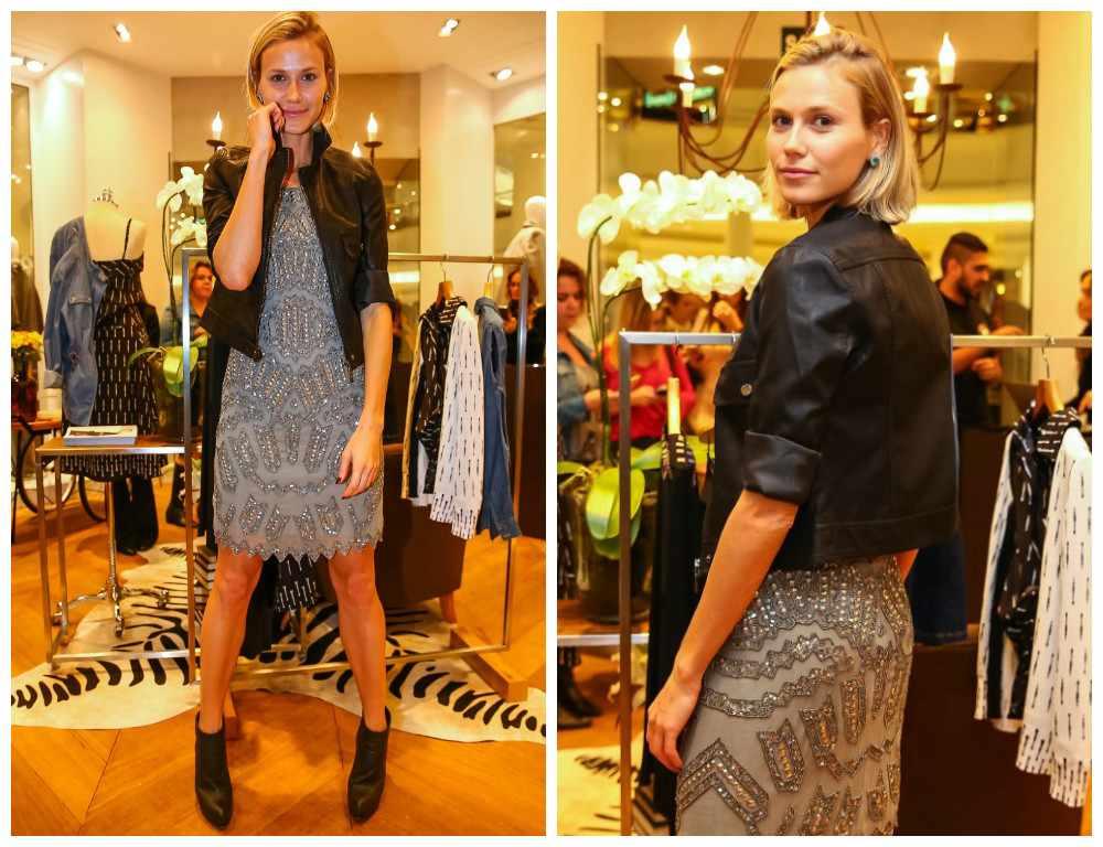 Boa ideia: Renata Kuerten mistura jaqueta preta e vestido de pedrarias
