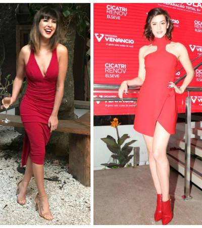 Vermelho: aposta sensual de Sophia Abrahão e Fê Paes Leme