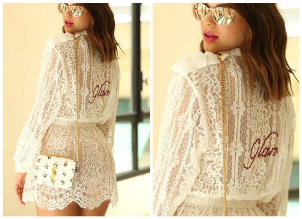Bruna Marquezine com renda e bolsa YSL (Fotos: Reprodução/Instagram/#brumarquezine)