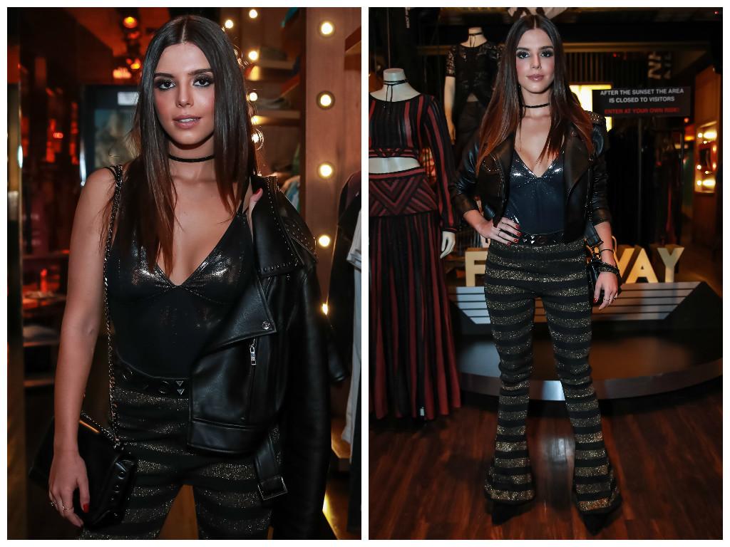 Giovanna Lancelotti com calça parecida no lançamento da coleção da John John (Fotos: AgNews)