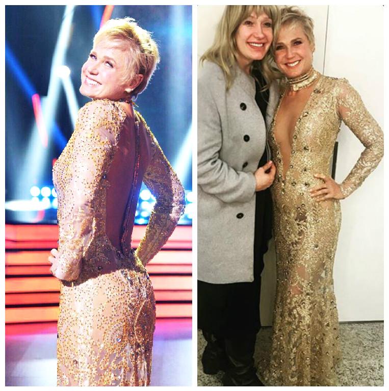 Xuxa, ao lado de MichellyX: vestido bordado com cristais na estreia da 2ª temporada de Dancing Brasil (Fotos: Reprodução/Instagram)