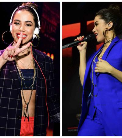 De terno e blazer, Anitta muda estilo e arrasa em show