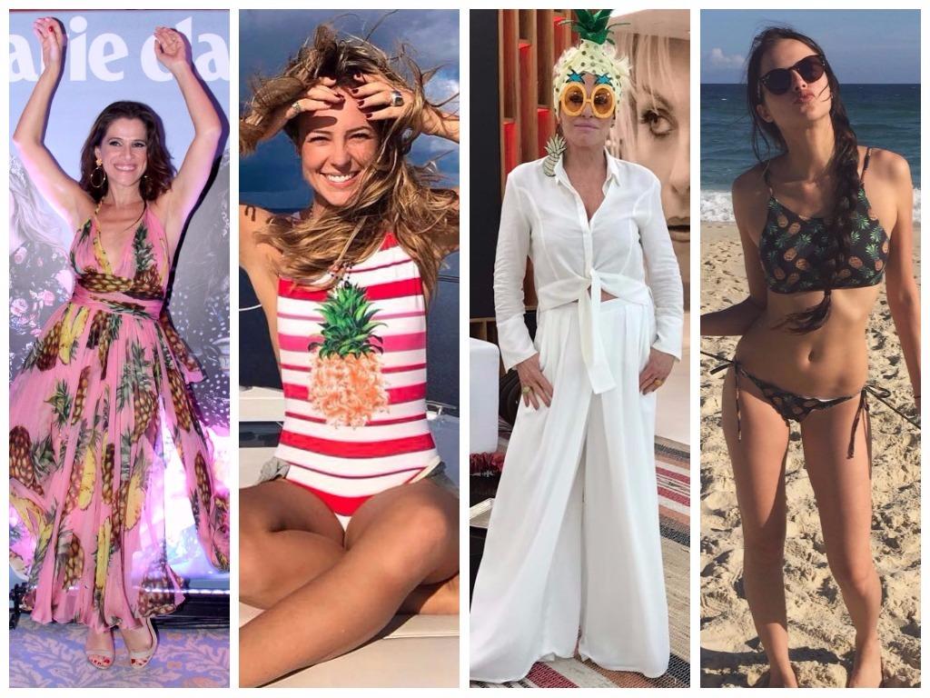 Ana Maria Braga e Paolla Oliveira vestem looks com abacaxi