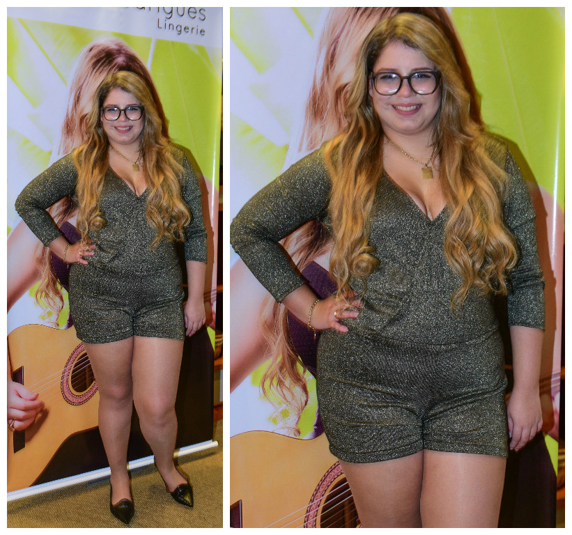 A cantora com macaquinho brilhante e decote em V (Fotos/AgNews)
