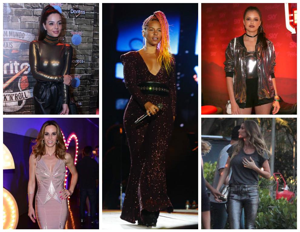 Do rock ao social, brilho impera em 10 looks das famosas