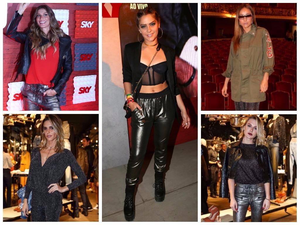 Brilho: Calça metalizada traz estilo aos looks das famosas