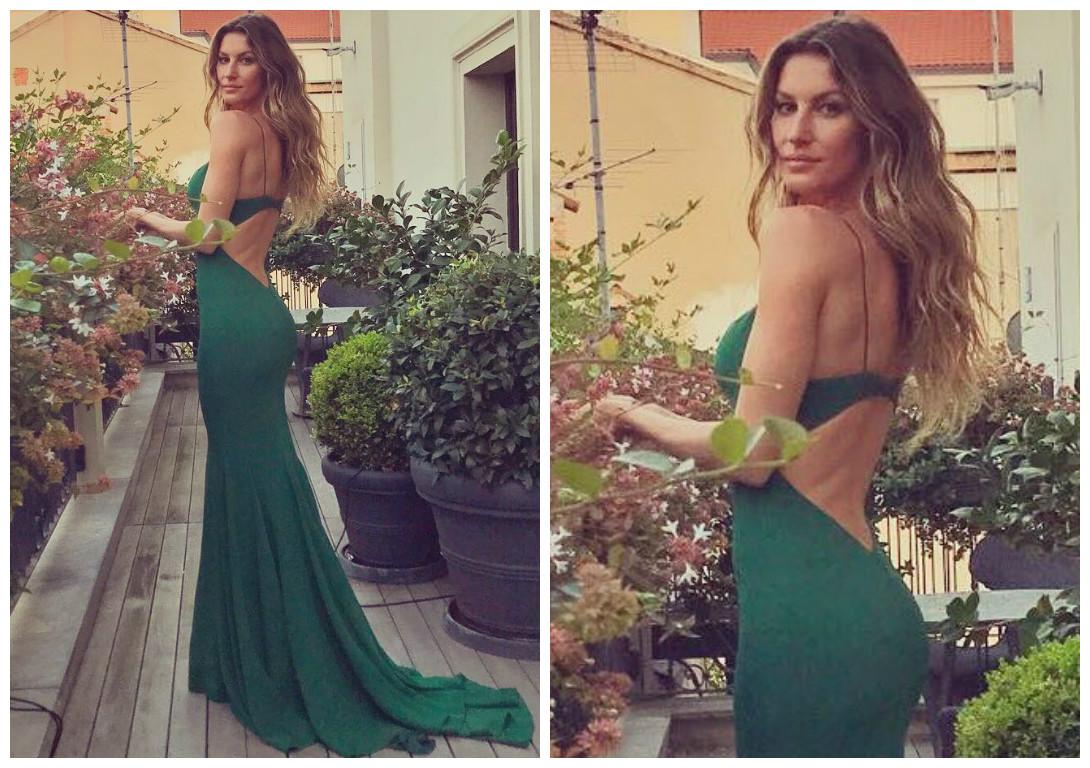 Gisele Bündchen com look verde de Stella McCarney (Foto: Reprodução/Instagram/@gisele)