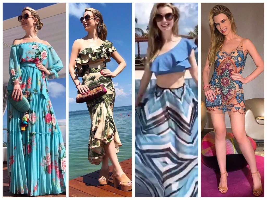 Fernanda Keulla acerta com 4 looks estampados no Caribe