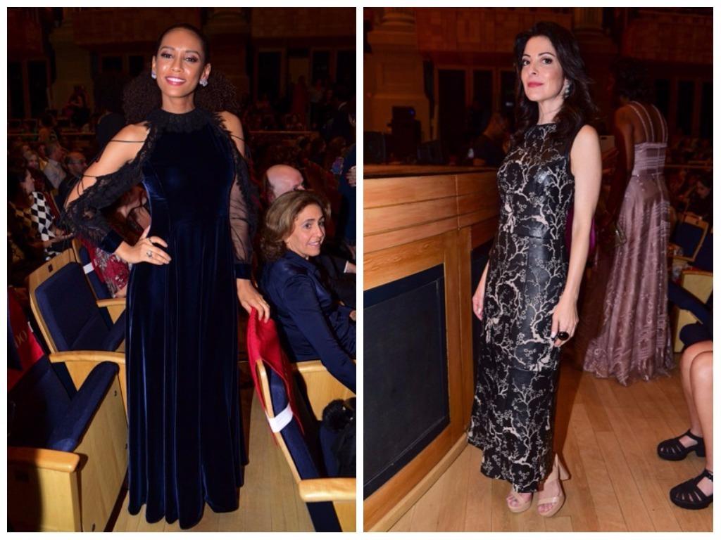 Elegante: Taís Araújo exibe longo de veludo em premiação