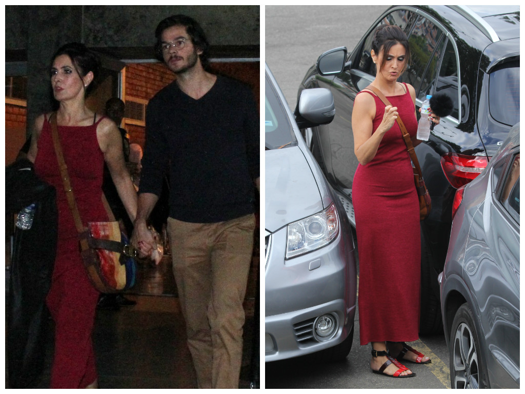 Fátima Bernardes acerta de look vermelho ao lado do namorado
