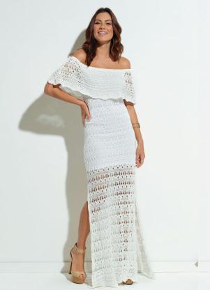 Vestido Tricot Quintess Branco Babado No Decote2722173011