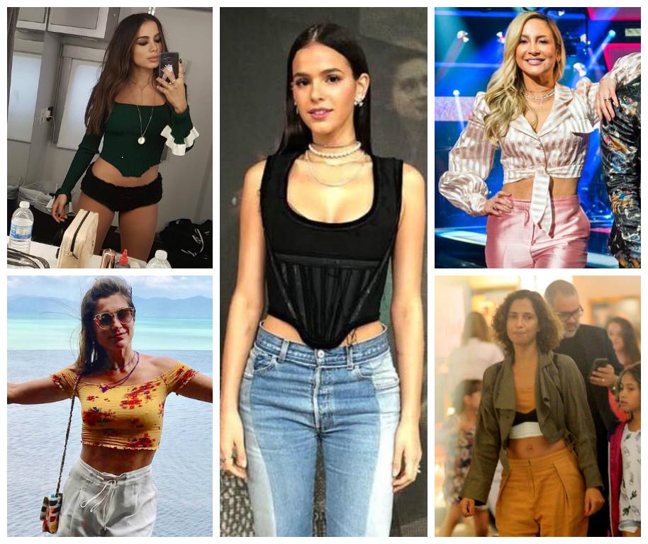 Corsets e tops cropped: os queridinhos das famosas (Fotos: AgNews/TV Globo/Reprodução/Instagram)